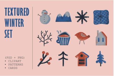Winter set. Clipart + patterns