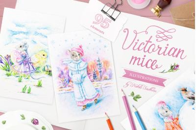 Cute Victorian Mice set