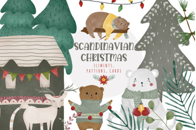 Scandinavian Christmas Watercolor Sublimation Bundle