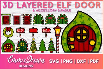 3D LAYERED ELF DOOR SVG BUNDLE 17 CHRISTMAS DESIGNS