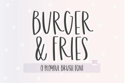BURGER & FRIES Playful Brush Font