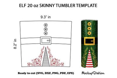 Elf Tumbler SVG Template, Christmas 20 oz Skinny Design