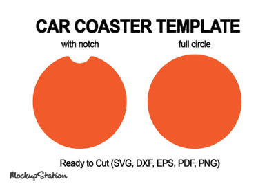 Car Coaster Template SVG, Circle with Notch Cut File DXF