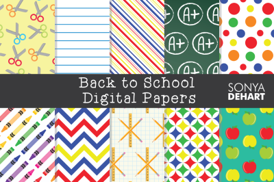 Digital Papers Back to School Patterns