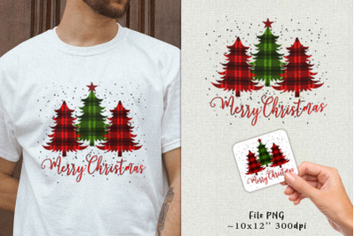 Fir-trees with a plaid blanket. Sublimation + sticker