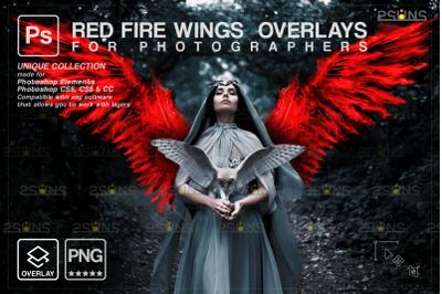 Digital angel wings photoshop overlay: Red angel