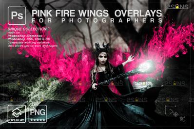 Digital angel wings photo overlays &PINK angel wings png, Fairy wing
