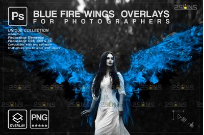 Digital angel wings photo overlays &Blue angel wings