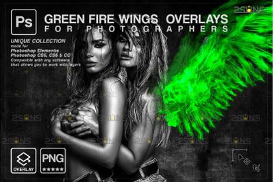 Digital angel wings photoshop overlay: Green angel wings