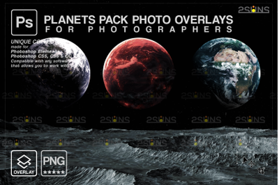 Planets Photoshop overlay & Galaxy backdrop, Space clipart