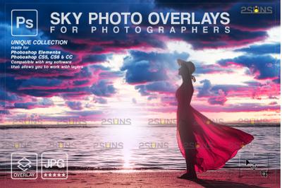 Blue sky overlays & Photoshop overlay, Night sky