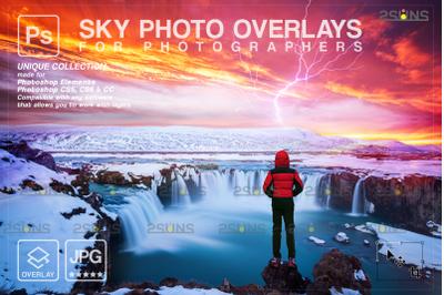 Stormy sky overlay & Night sky overlay, Photoshop overlay, Halloween o