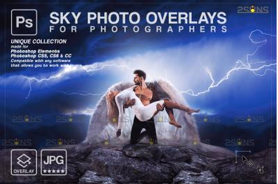 Night sky photo overlays & Photoshop overlay, Blue sky overlays