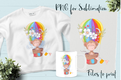 Cute Monkey sublimation. Design for printing.