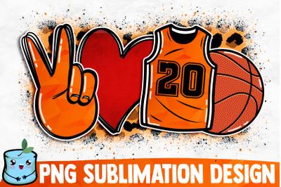 Peace Love Basketball Sublimation Design