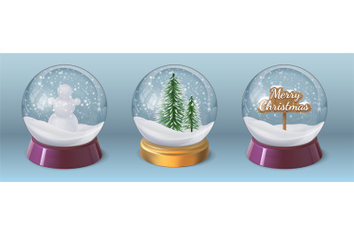 Realistic crystal snow ball with snowman and christmas tree. Glass glo