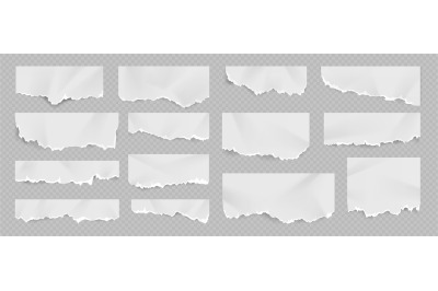 Realistic torn and ripped white paper sheet with folds. Notebook page