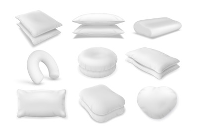 3d realistic neck pillow and sofa cushion mockup. Fluffy bolster pile,