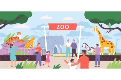 Flat zoo entrance gates with visitor family and kids. Cartoon safari p