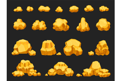 Cartoon gold mine nuggets, boulders, stones and piles. Natural shiny s
