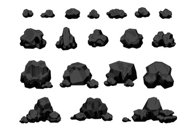 Cartoon mine black coal pieces and piles, burning material. Charcoal l