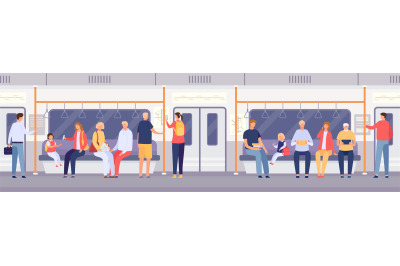Passenger crowd inside subway train or city bus. Cartoon people standi