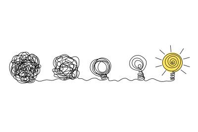 Process of complex problem to simple solution idea concept. Chaos scri