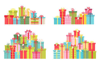 Cartoon pile of christmas and birthday presents in gift boxes. Prize c