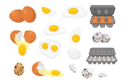 Cartoon farm fresh chicken and quail eggs in packages. Broken, raw, fr