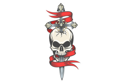 Skull Pierced by Sword Colorful Tattoo
