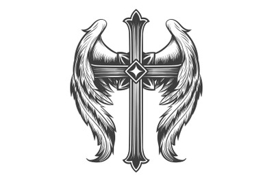 Winged Cross Engraving Tattoo