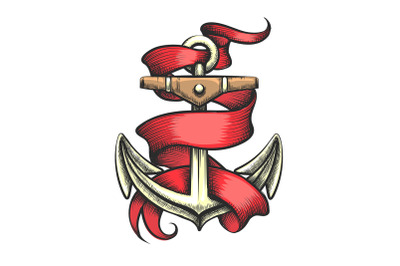 Golden Anchor with Red Ribbon Tattoo