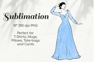 Woman in Blue Glitter Lace Dress Character Retro Sketch