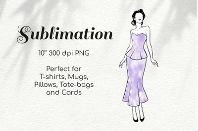 Pin Up Woman in Violet Glitter Dress Character Retro Sketch