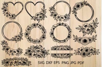 Wild Flowers SVG, Floral Heart SVG, Floral Frame Cutting Templates