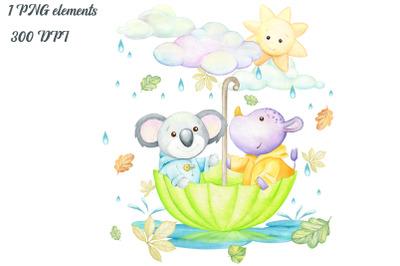 watercolor animals clipart, panda, rhino, umbrella, clouds, sun, rain,
