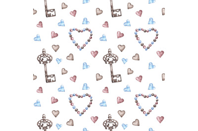 Vintage, Valentine's Day watercolor seamless pattern. Hearts, key
