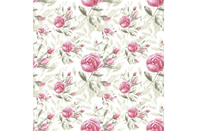 Rose watercolor seamless pattern. Rosehip, pink rose