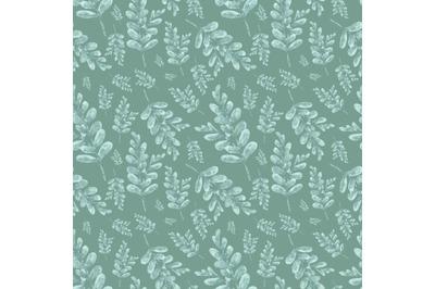 Green leaves watercolor seamless pattern. Greens. Flora. Plants