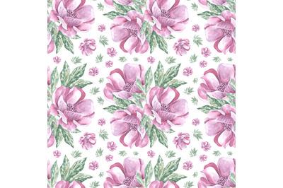 Peonies watercolor seamless pattern. Flowers. Flora.