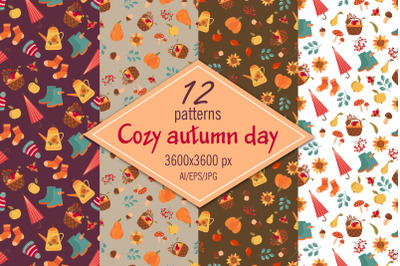 Cozy autumn day - digital paper/seamless patterns