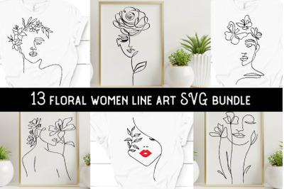 Floral women line art svgs, floral girl line art svgs