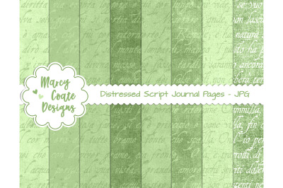 Green Distressed Script Journal Papers - US Letter size