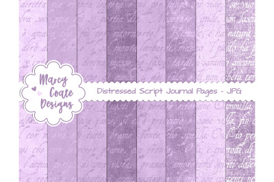 Lavender Distressed Script Journal Papers US Letter Size