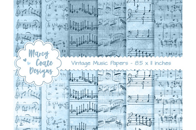 Blue Dyed Music Paper US Letter Size
