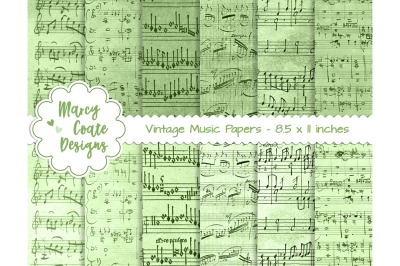 Green Dyed Music Paper US Letter Size