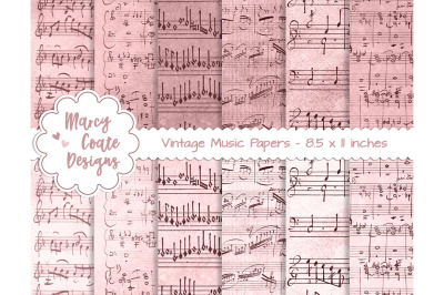 Pink Dyed Music Papers US Letter Size