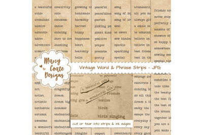 Coffee dyed Word Strips bundle with 7 pages