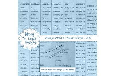 Blue dyed Word Strips bundle with 7 pages