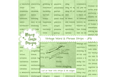 Green dyed Word Strips bundle with 7 pages